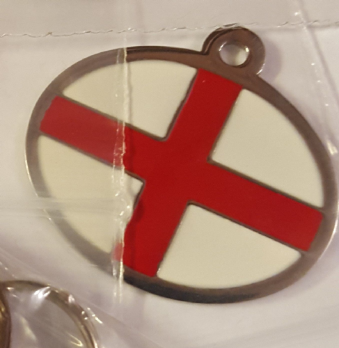 Engraved Pet ID England Flag Stainless Steel & Enamel